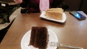 Marwa totally recommends Einstein's cafe's Russian honey cake..Yummy