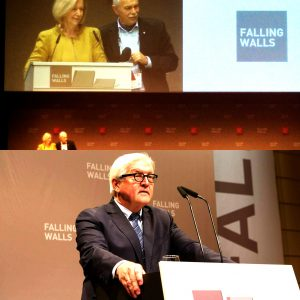 Johanna Wanka, Federal Minister of Education and Research addressing the audience at the conference (top) and Frank-Walter Steinmeier at the welcome museum